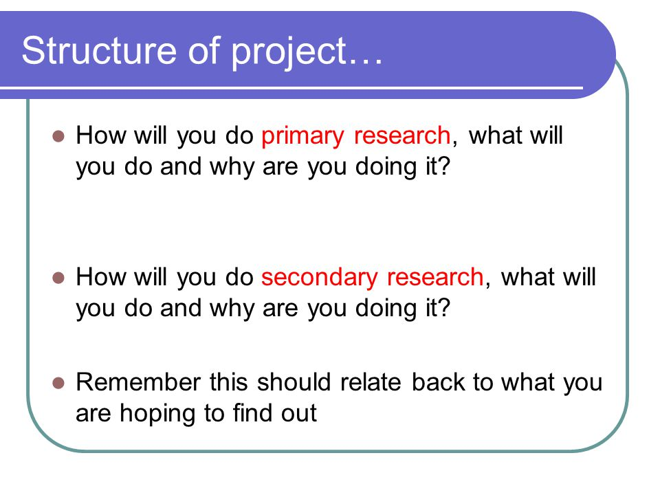 Structure of project… How will you do primary research, what will you do and why are you doing it.