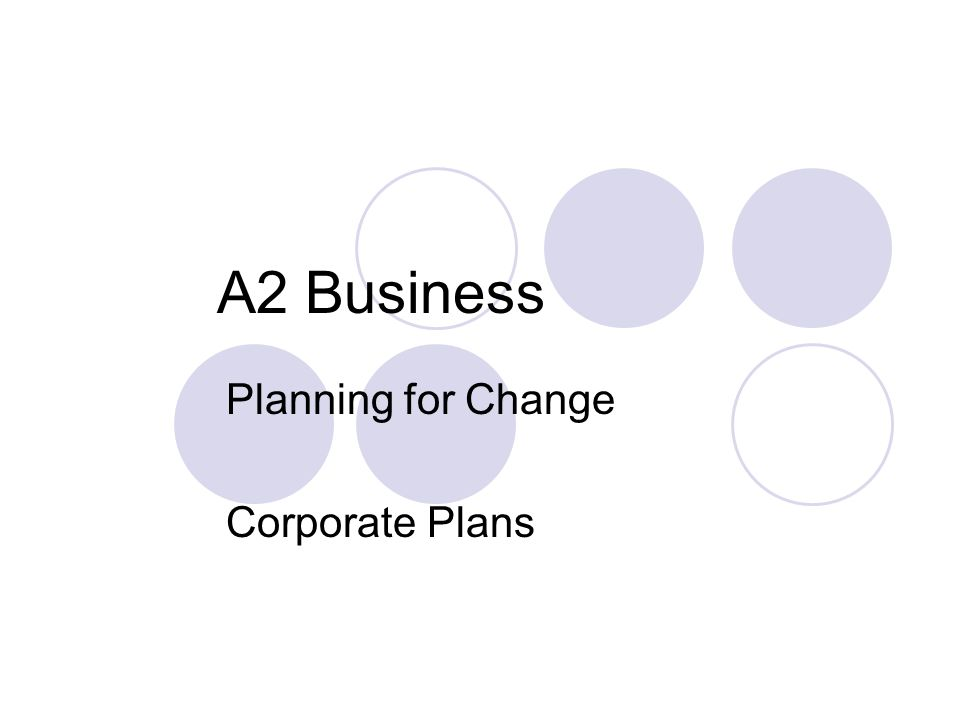A2 Business Planning for Change Corporate Plans