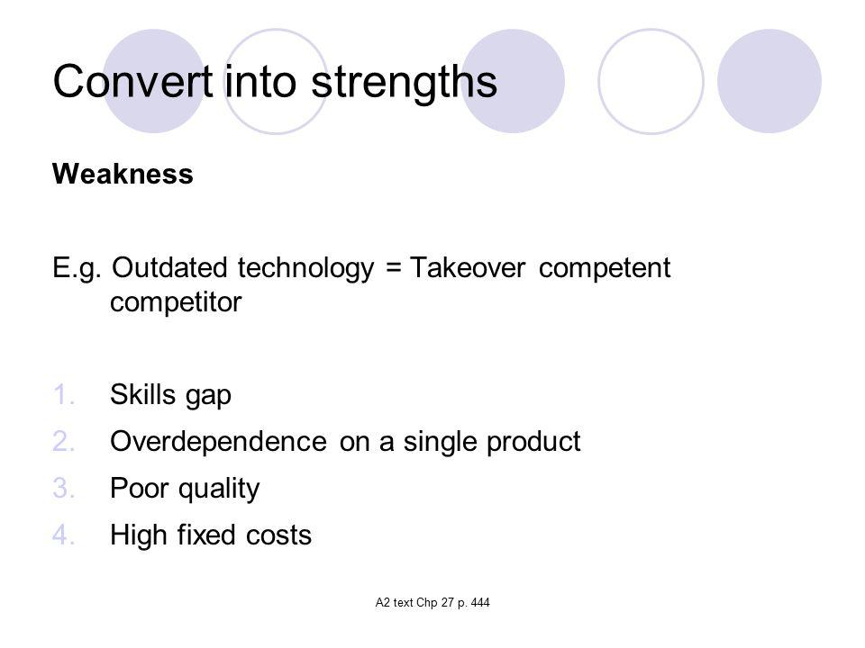 A2 text Chp 27 p.444 Convert into strengths Weakness E.g.