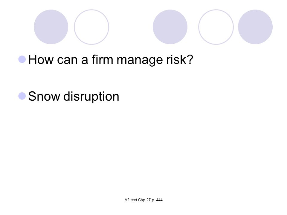 A2 text Chp 27 p. 444 How can a firm manage risk? Snow disruption
