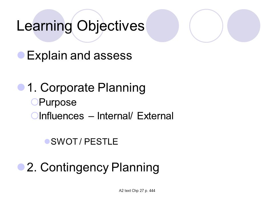 A2 text Chp 27 p.444 Learning Objectives Explain and assess 1.