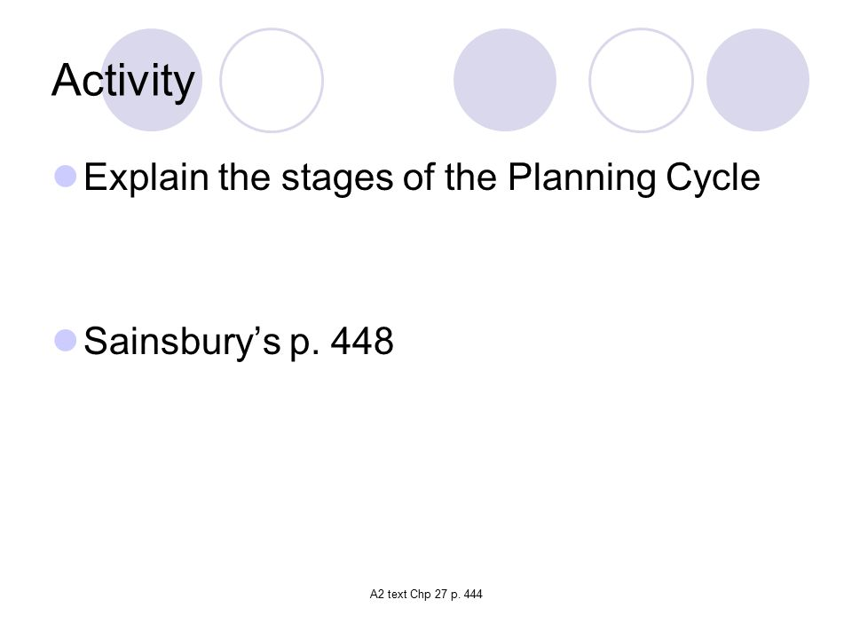 A2 text Chp 27 p. 444 Activity Explain the stages of the Planning Cycle Sainsbury's p. 448