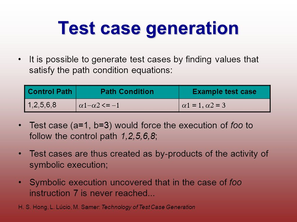 H. S. Hong, L. Lúcio, M. Samer: Technology of Test Case Generation Test case generation It is possible to generate test cases by finding values that s