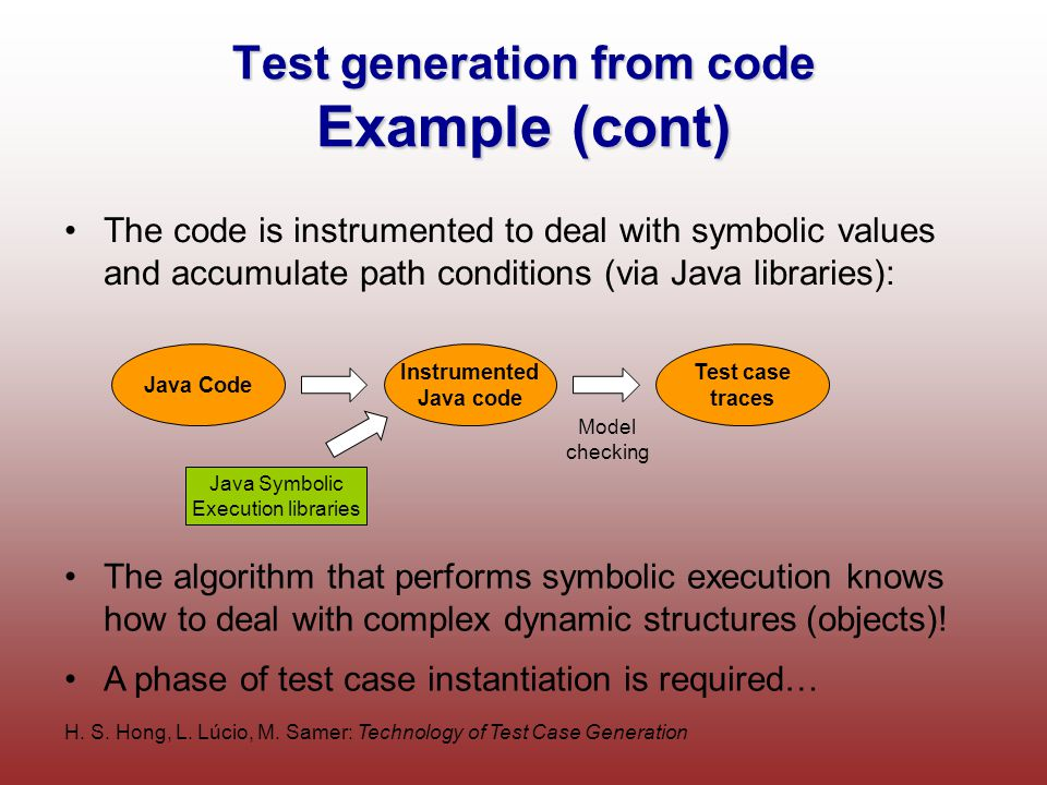 H. S. Hong, L. Lúcio, M. Samer: Technology of Test Case Generation Test generation from code Example (cont) The code is instrumented to deal with symb