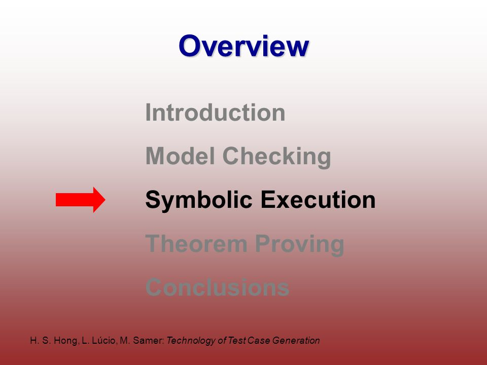 H. S. Hong, L. Lúcio, M. Samer: Technology of Test Case Generation Overview Introduction Model Checking Symbolic Execution Theorem Proving Conclusions