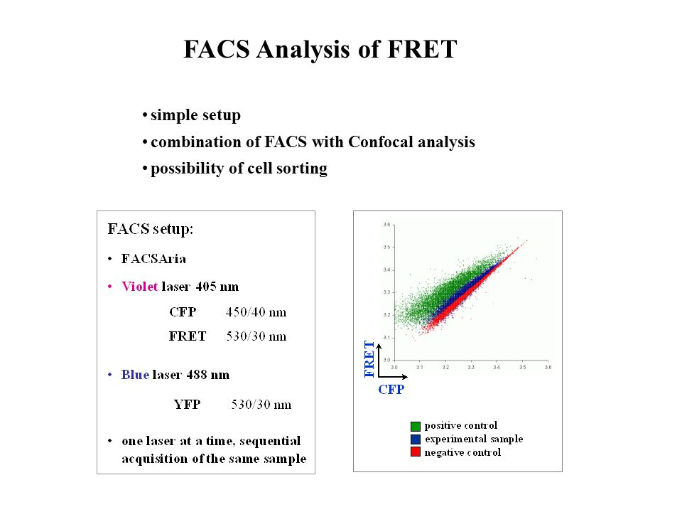 FACS Analysis of FRET simple setup combination of FACS with Confocal analysis possibility of cell sorting