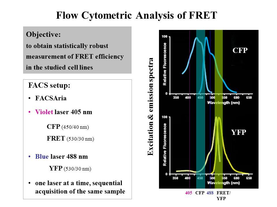 FACSAria Violet laser 405 nm CFP (450/40 nm) FRET (530/30 nm) YFP (530/30 nm) Excitation & emission spectra CFP YFP Flow Cytometric Analysis of FRET O