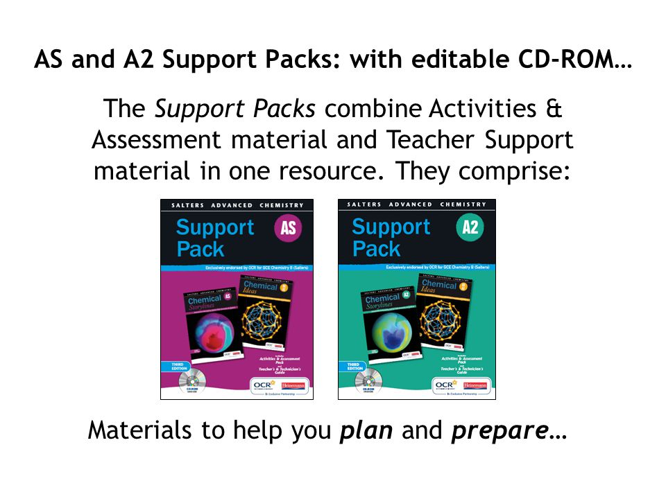 AS and A2 Support Packs: with editable CD-ROM… The Support Packs combine Activities & Assessment material and Teacher Support material in one resource