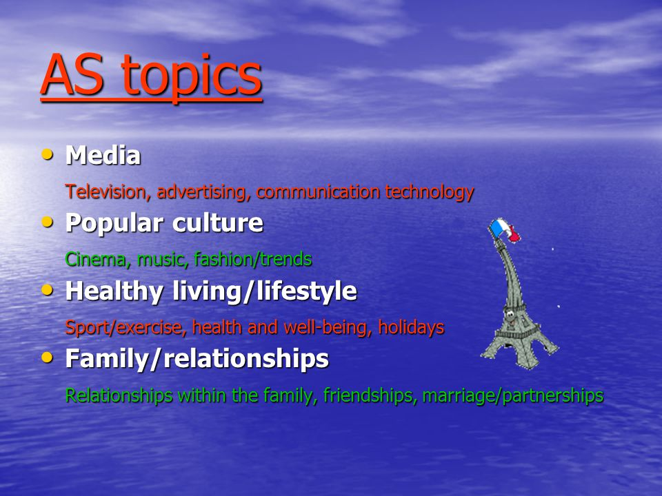 AS topics Media Media Television, advertising, communication technology Popular culture Popular culture Cinema, music, fashion/trends Healthy living/lifestyle Healthy living/lifestyle Sport/exercise, health and well-being, holidays Family/relationships Family/relationships Relationships within the family, friendships, marriage/partnerships