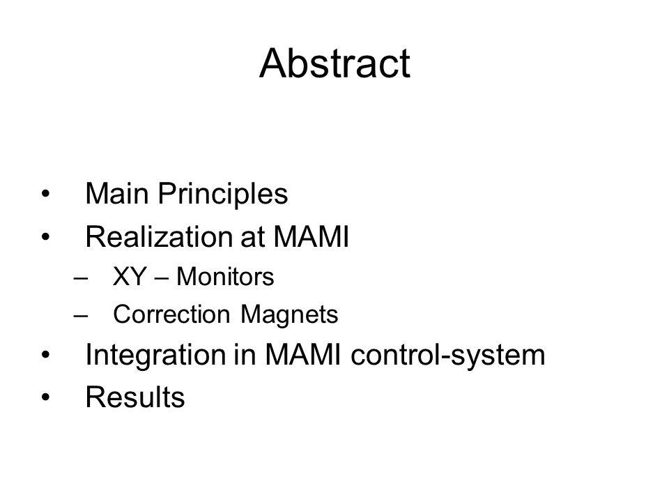 Abstract Main Principles Realization at MAMI –XY – Monitors –Correction Magnets Integration in MAMI control-system Results