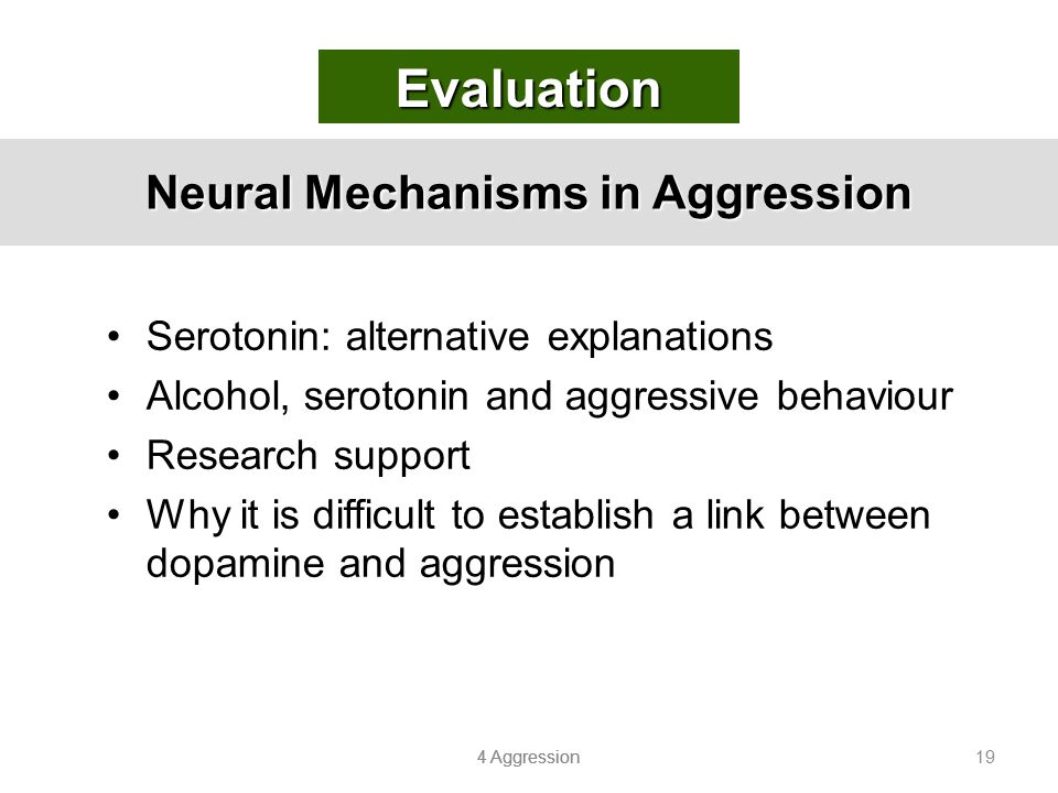 4 Aggression 19 Neural Mechanisms in Aggression Serotonin: alternative explanations Alcohol, serotonin and aggressive behaviour Research support Why i