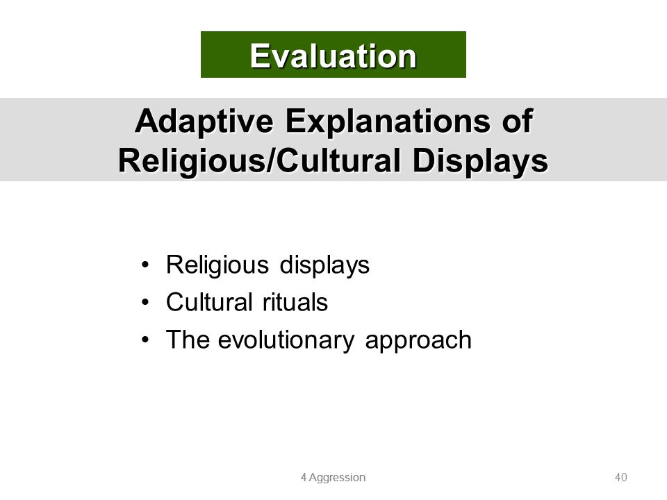 4 Aggression 40 Adaptive Explanations of Religious/Cultural Displays Religious displays Cultural rituals The evolutionary approach Evaluation