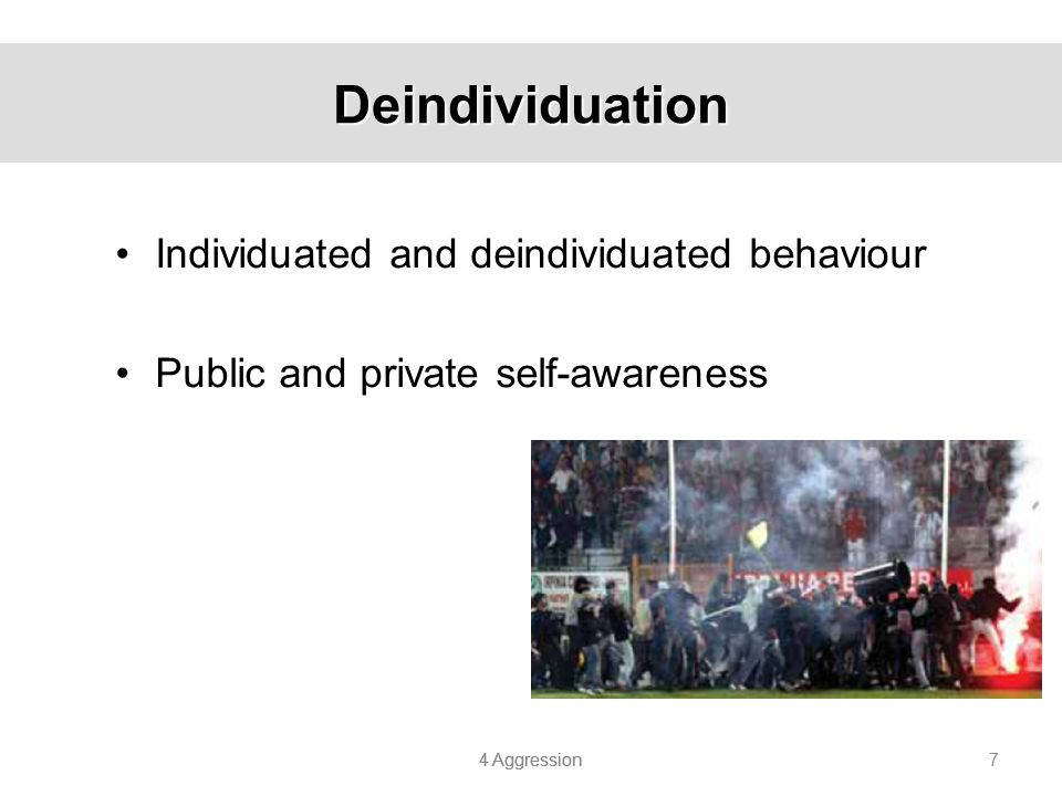 4 Aggression 8 Research Related To Deindividuation The Stanford Prison experiment (Zimbardo et al.