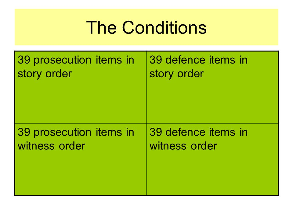 The Conditions 39 prosecution items in story order 39 defence items in story order 39 prosecution items in witness order 39 defence items in witness order