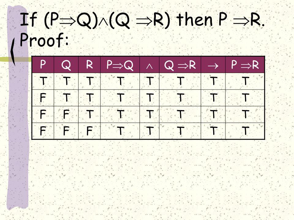 If (P  Q)  (Q  R) then P  R.