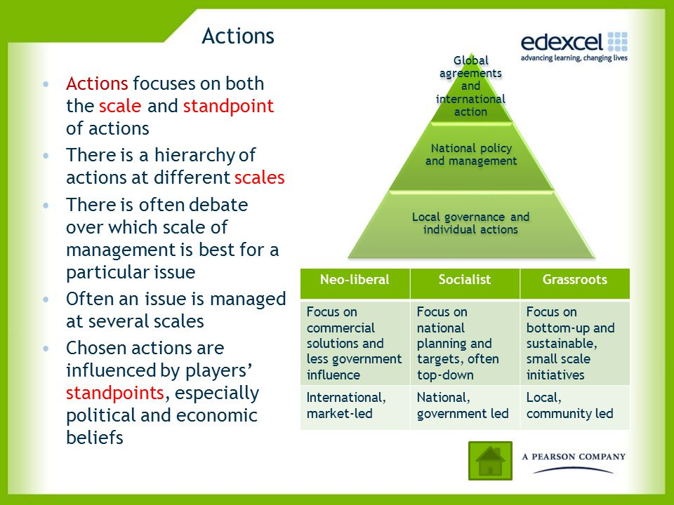 Actions Actions focuses on both the scale and standpoint of actions There is a hierarchy of actions at different scales There is often debate over whi