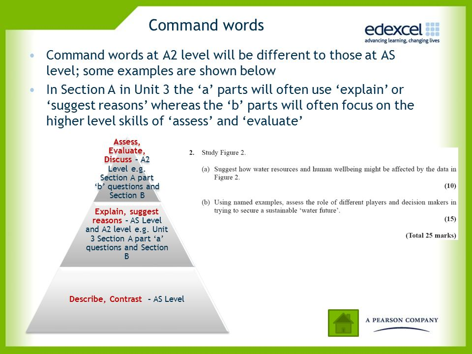 Command words Command words at A2 level will be different to those at AS level; some examples are shown below In Section A in Unit 3 the 'a' parts wil