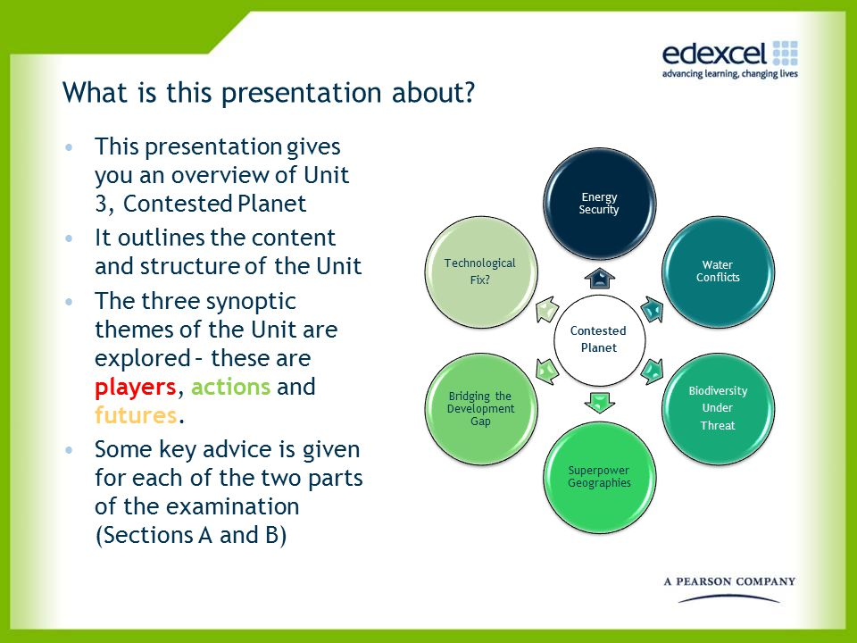 What is this presentation about? This presentation gives you an overview of Unit 3, Contested Planet It outlines the content and structure of the Unit