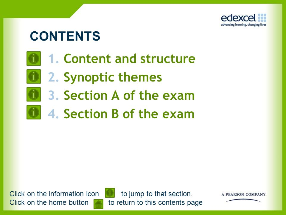 1.Content and structure 2.Synoptic themes 3.Section A of the exam 4.Section B of the exam CONTENTS Click on the information icon to jump to that secti