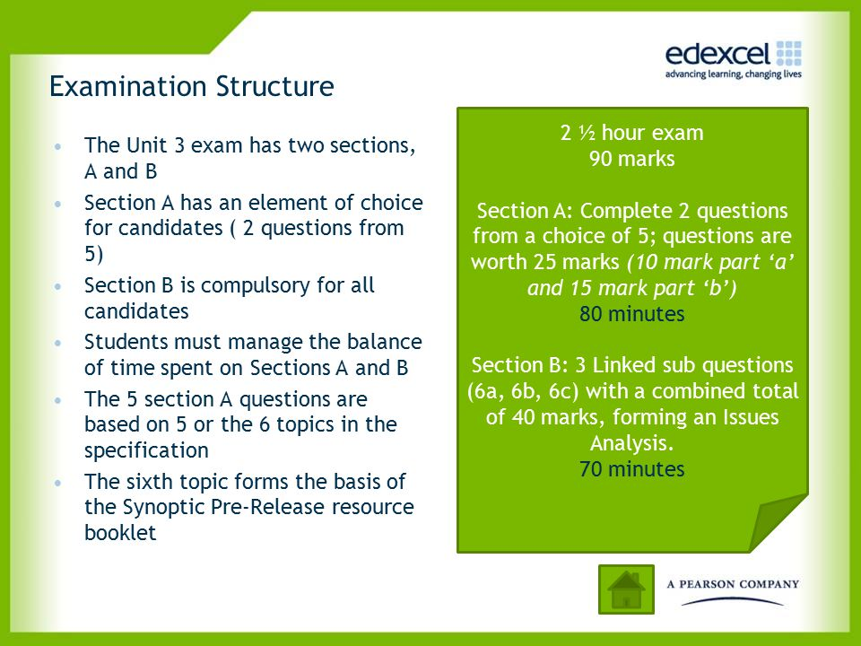 Examination Structure The Unit 3 exam has two sections, A and B Section A has an element of choice for candidates ( 2 questions from 5) Section B is c