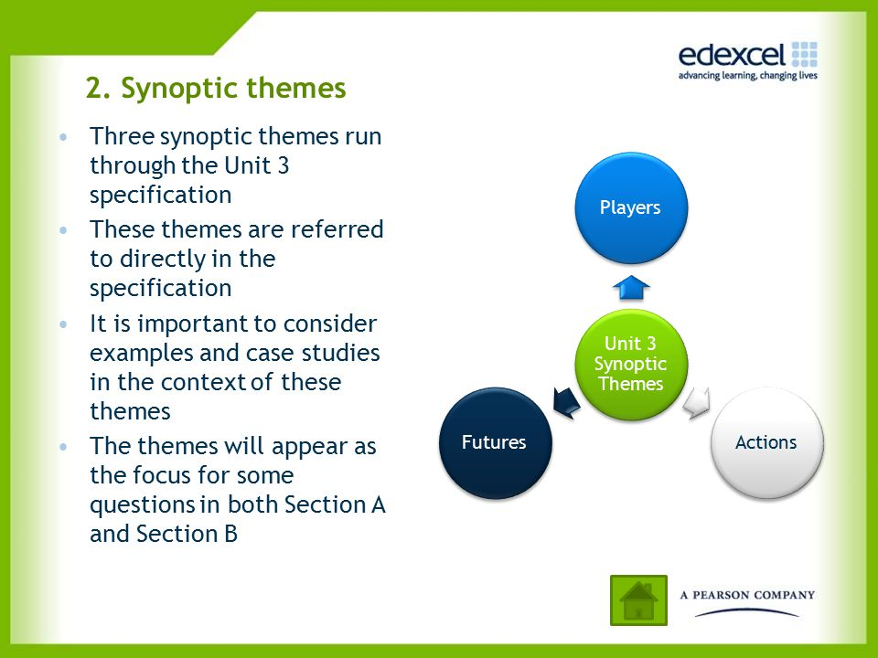 2. Synoptic themes Three synoptic themes run through the Unit 3 specification These themes are referred to directly in the specification It is importa