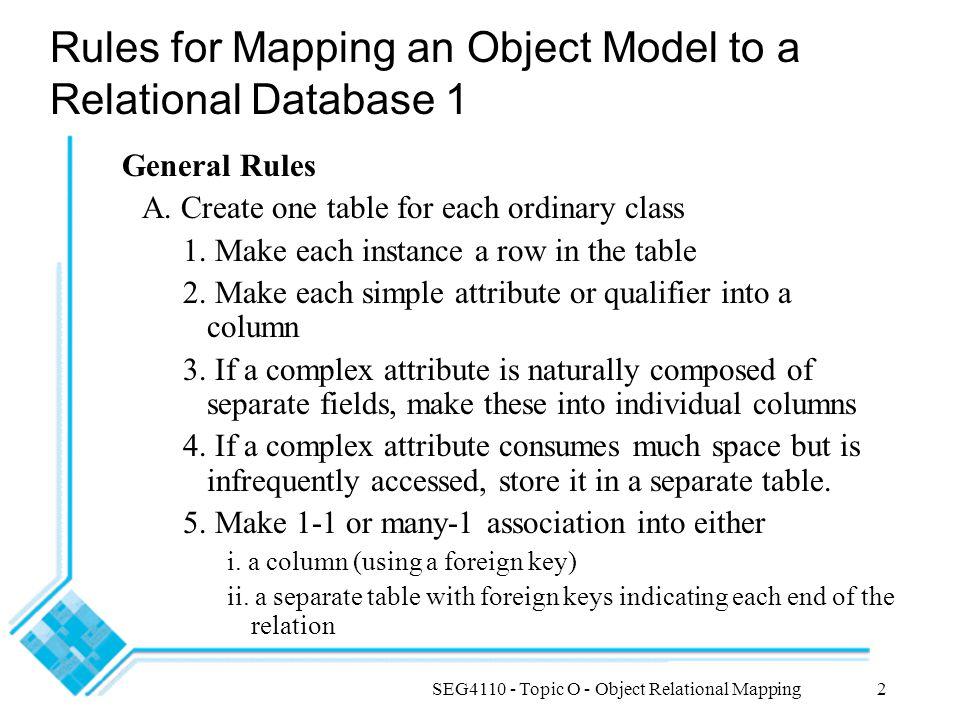 SEG4110 - Topic O - Object Relational Mapping13 Data modeling vs.
