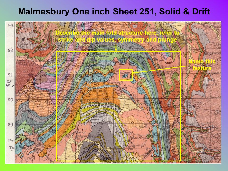 Malmesbury One inch Sheet 251, Solid & Drift Describe the main fold structure here, refer to strike and dip values, symmetry and plunge Name this feature