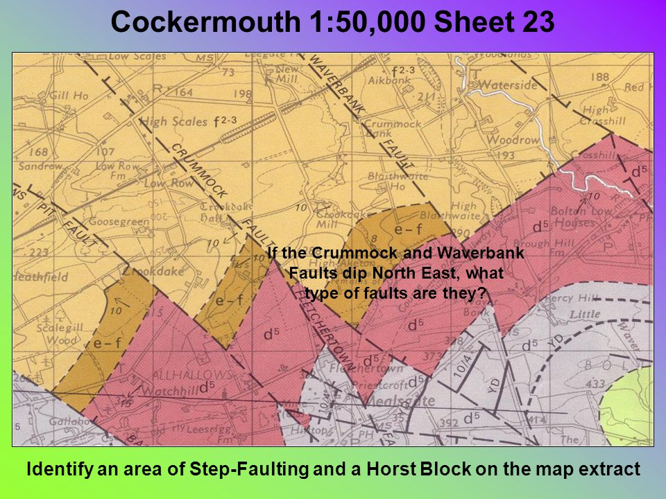 Cockermouth 1:50,000 Sheet 23 Identify an area of Step-Faulting and a Horst Block on the map extract If the Crummock and Waverbank Faults dip North East, what type of faults are they