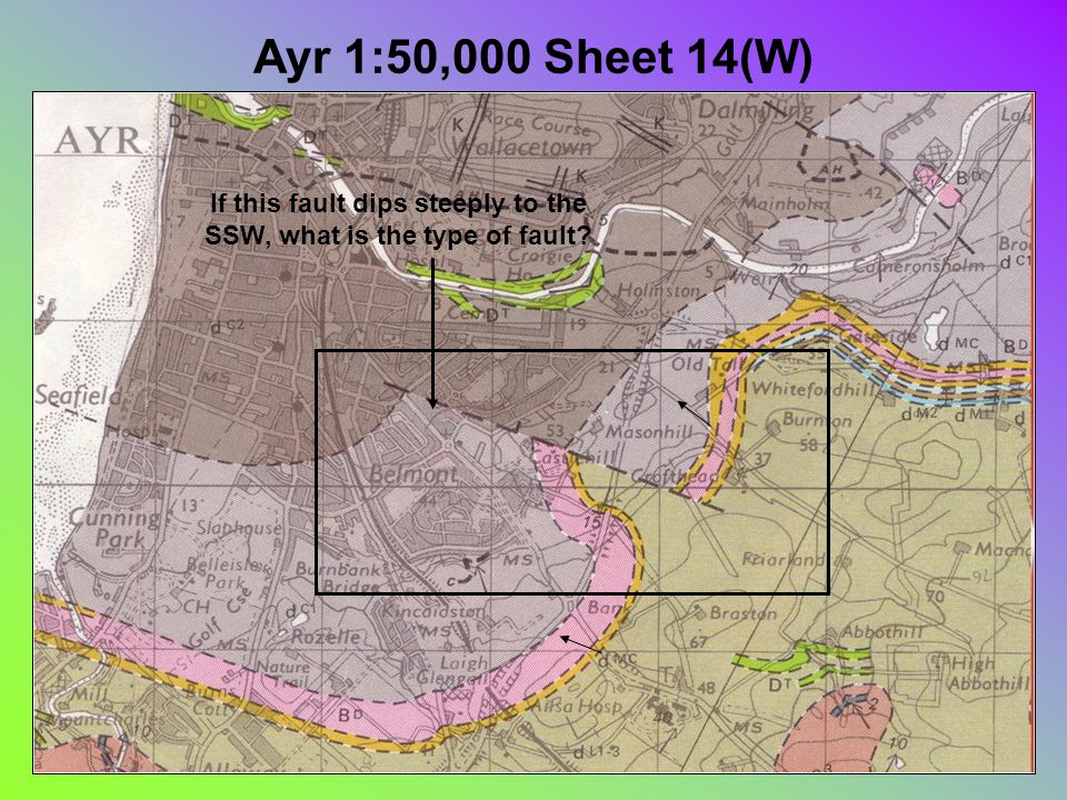 Ayr 1:50,000 Sheet 14(W) If this fault dips steeply to the SSW, what is the type of fault