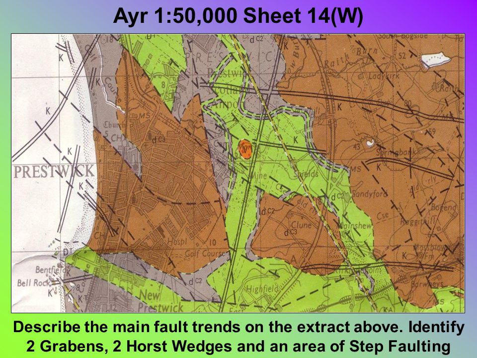 Ayr 1:50,000 Sheet 14(W) Describe the main fault trends on the extract above.