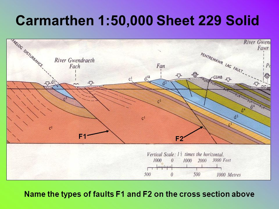 Carmarthen 1:50,000 Sheet 229 Solid Name the types of faults F1 and F2 on the cross section above F1 F2