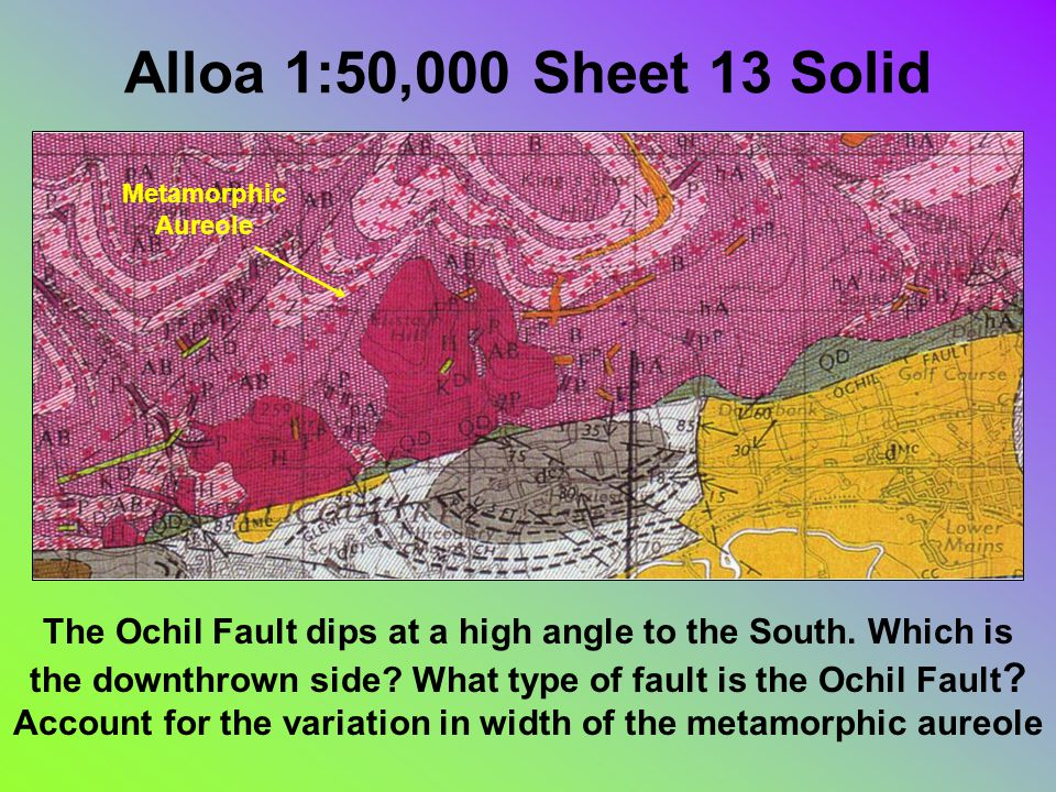 Alloa 1:50,000 Sheet 13 Solid The Ochil Fault dips at a high angle to the South.