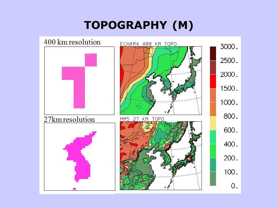 TOPOGRAPHY (M) 27km resolution 400 km resolution