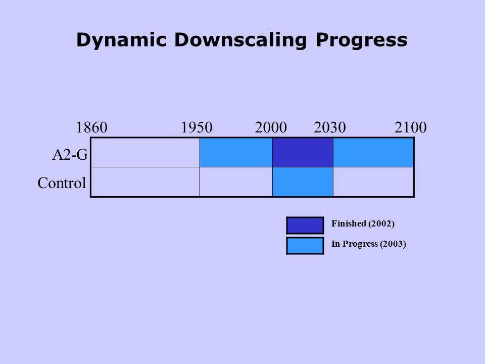 18601950200020302100 A2-G Control Finished (2002) In Progress (2003) Dynamic Downscaling Progress