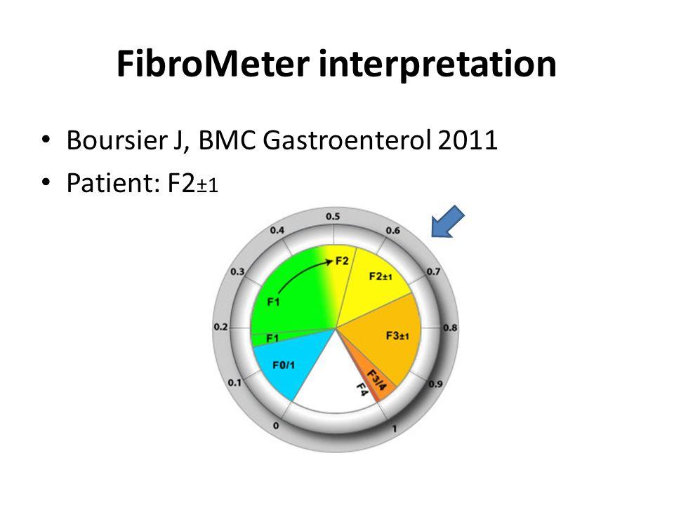 FibroMeter interpretation Boursier J, BMC Gastroenterol 2011 Patient: F2 ±1
