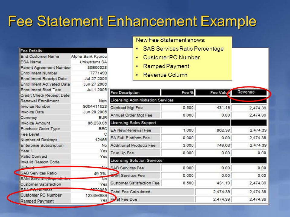 Fee Statement Enhancement Example New Fee Statement shows: SAB Services Ratio Percentage Customer PO Number Ramped Payment Revenue Column