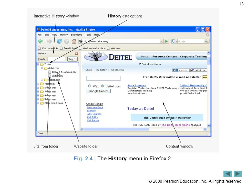  2008 Pearson Education, Inc. All rights reserved. 13 Fig. 2.4 | The History menu in Firefox 2.