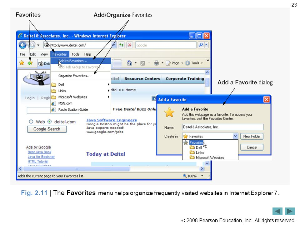  2008 Pearson Education, Inc. All rights reserved. 23 Fig. 2.11 | The Favorites menu helps organize frequently visited websites in Internet Explorer