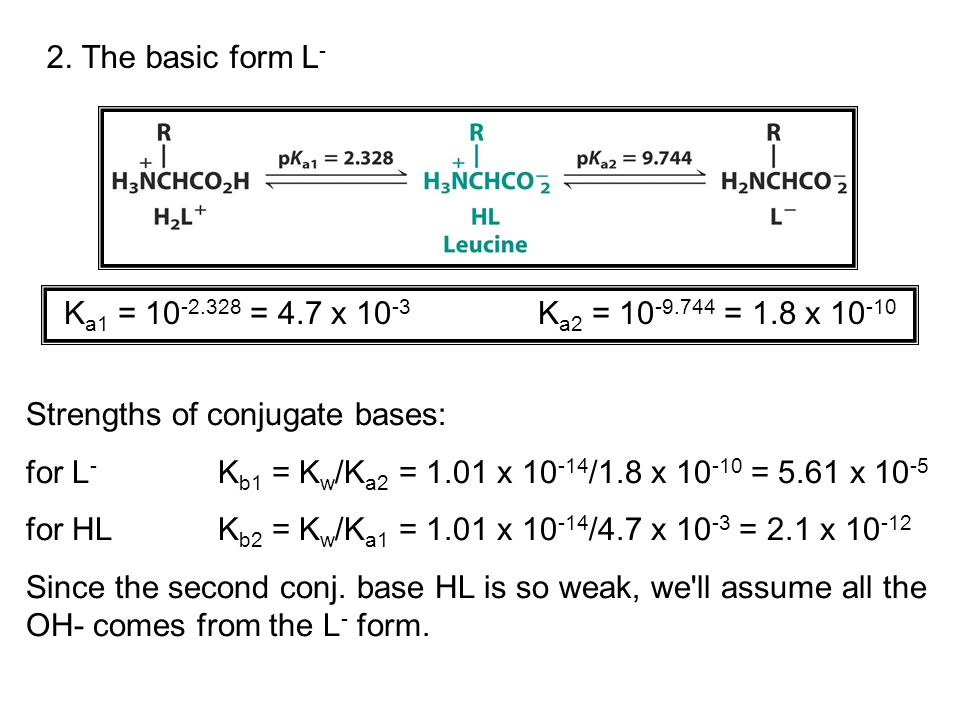 Example: Calculate the pH of a 0.050M solution of sodium leucinate