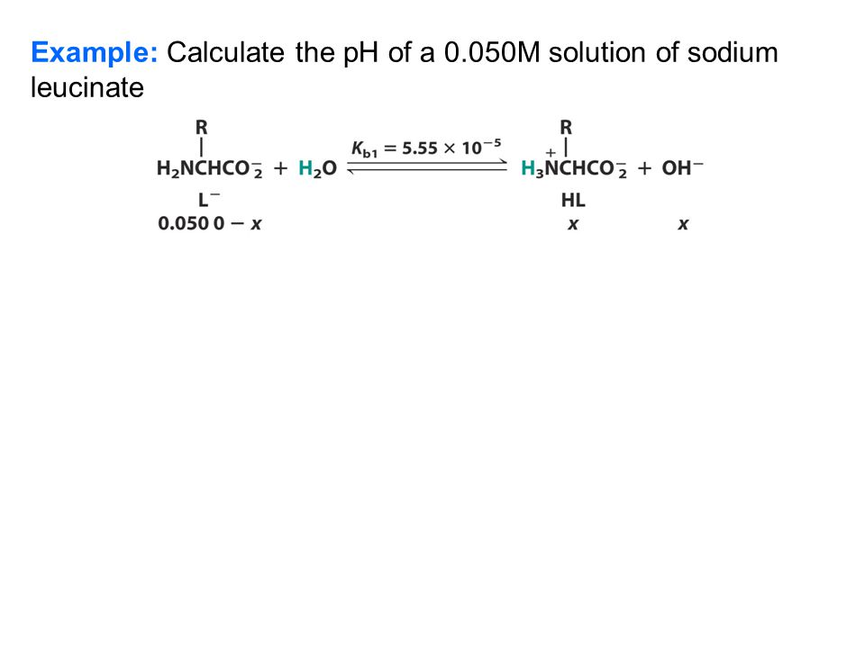 The Intermediate Form The pH of a Zwitterion Solution - Leucine (HL form)