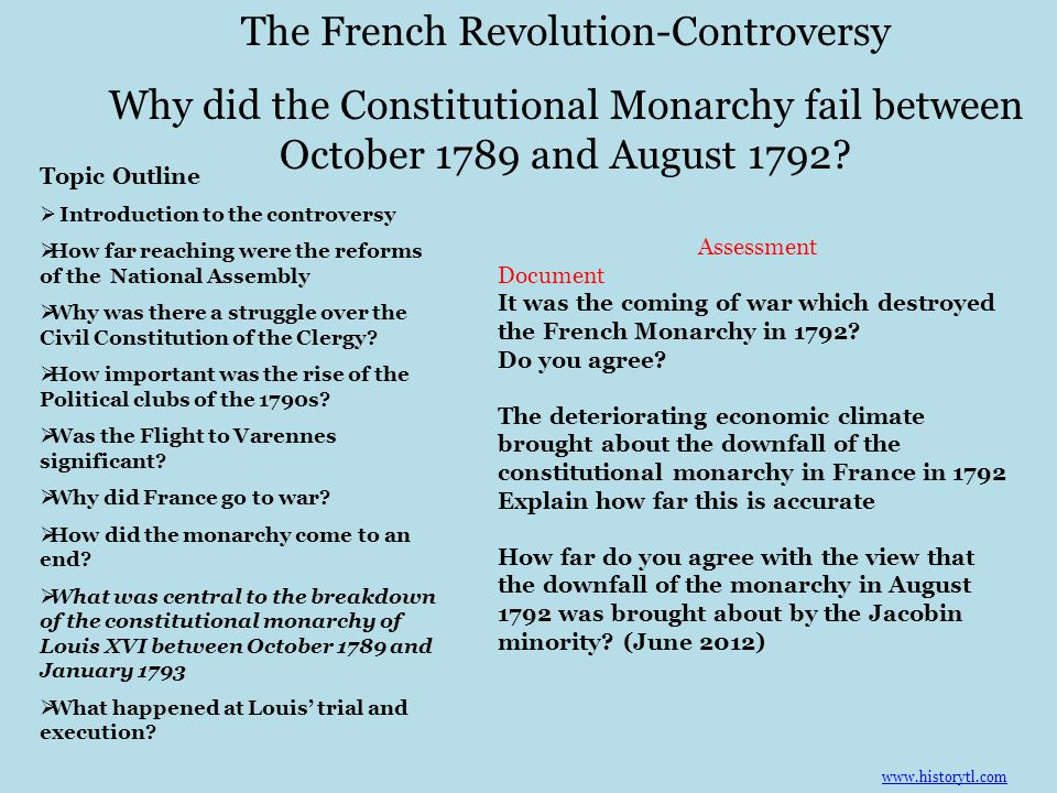 Why did the Constitutional Monarchy fail between October 1789 and August 1792 Why did France go to war.