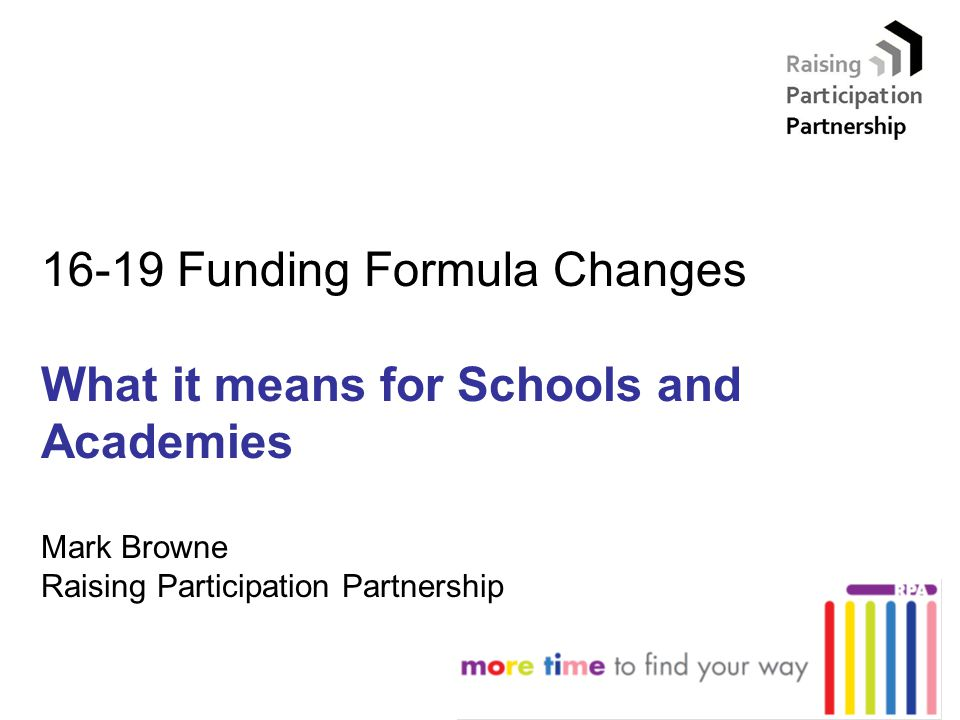 16-19 Funding Formula Changes What it means for Schools and Academies Mark Browne Raising Participation Partnership
