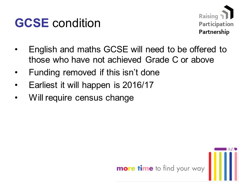 GCSE condition English and maths GCSE will need to be offered to those who have not achieved Grade C or above Funding removed if this isn't done Earli