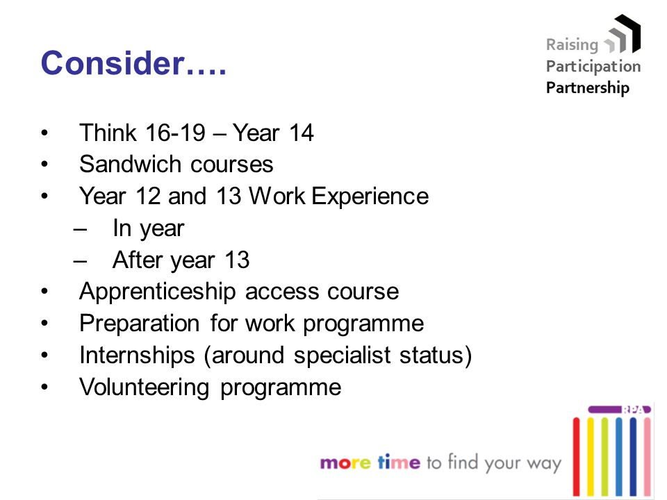 Consider…. Think 16-19 – Year 14 Sandwich courses Year 12 and 13 Work Experience –In year –After year 13 Apprenticeship access course Preparation for