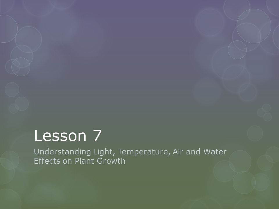 Lesson 7 Understanding Light, Temperature, Air and Water Effects on Plant Growth