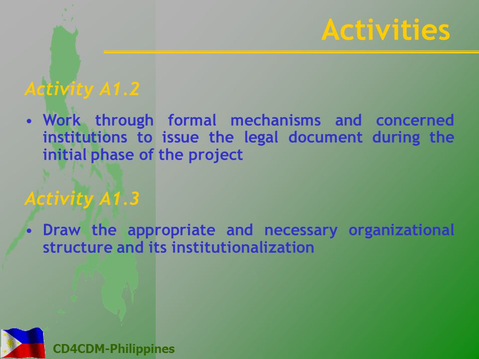 CD4CDM-Philippines Activity A1.2 Work through formal mechanisms and concerned institutions to issue the legal document during the initial phase of the