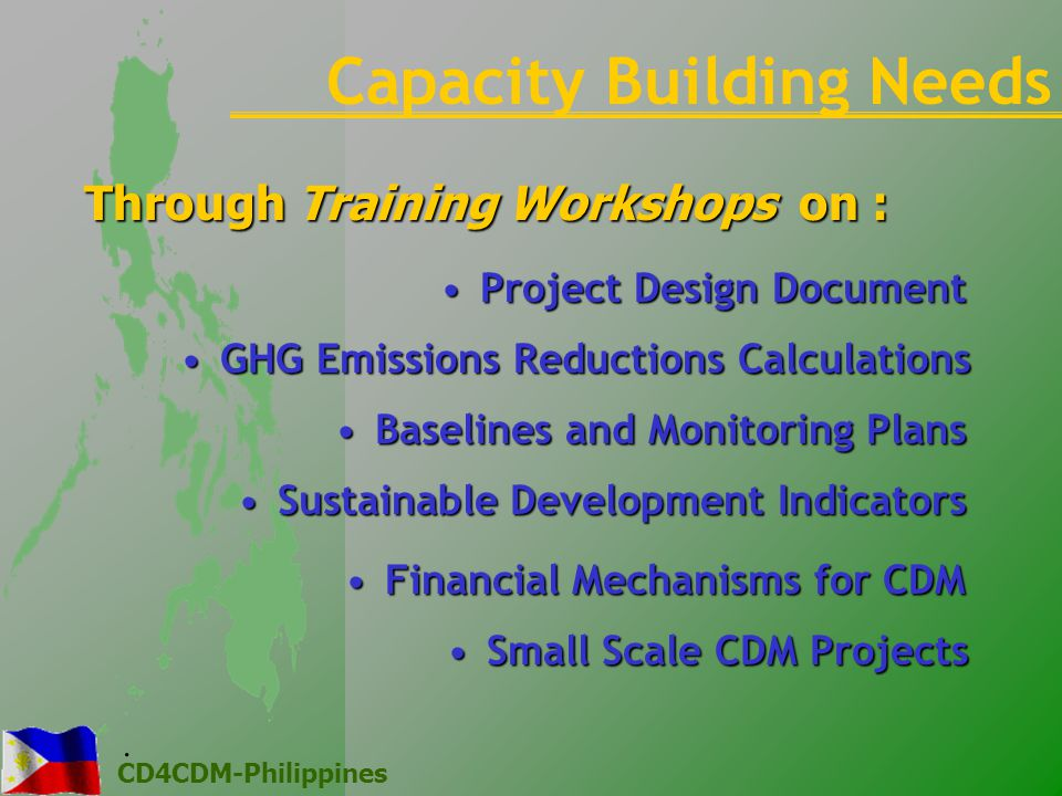 CD4CDM-Philippines Through Training Workshops on : GHG Emissions Reductions CalculationsGHG Emissions Reductions Calculations Small Scale CDM ProjectsSmall Scale CDM Projects Project Design DocumentProject Design Document Baselines and Monitoring PlansBaselines and Monitoring Plans Sustainable Development IndicatorsSustainable Development Indicators Financial Mechanisms for CDMFinancial Mechanisms for CDM Capacity Building Needs.