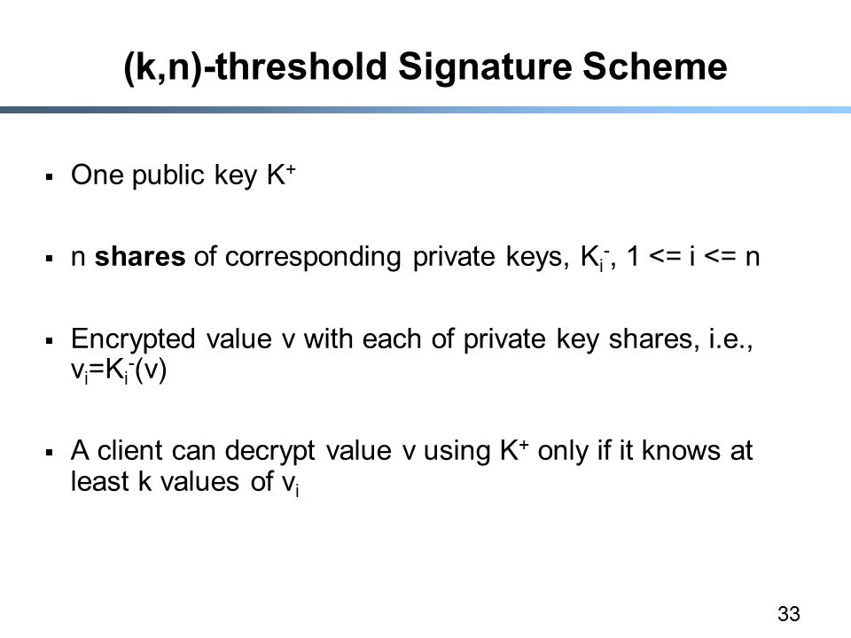 33 (k,n)-threshold Signature Scheme  One public key K +  n shares of corresponding private keys, K i -, 1 <= i <= n  Encrypted value v with each of private key shares, i.e., v i =K i - (v)  A client can decrypt value v using K + only if it knows at least k values of v i