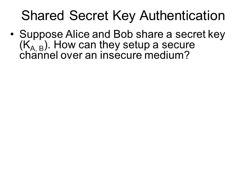 Shared Secret Key Authentication Suppose Alice and Bob share a secret key (K A, B ).