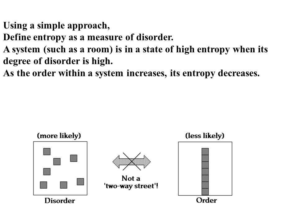 Using a simple approach, Define entropy as a measure of disorder.